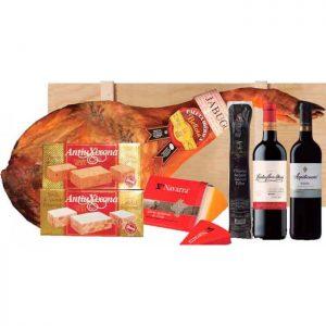 Lote de navidad con embutidos ibéricos y vinos Rioja en Jamonero de cartón 3