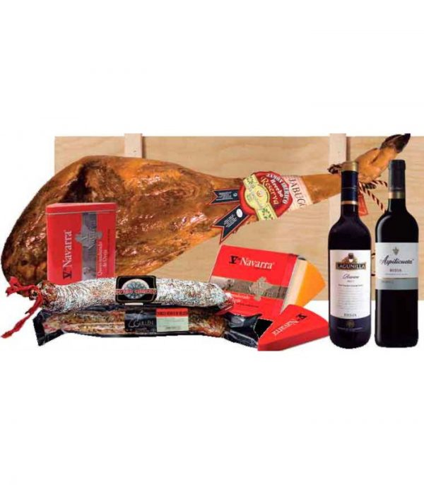 Lote de embutidos ibéricos y vinos Rioja reserva