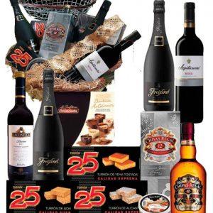 Cesta de navidad delicatessen con Whisky Chivas Regal 12 años y turrones Non Plus Ultra 24 a