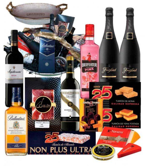 Cesta de navidad delicatessen con Whisky Ballantines 12 años y Estuche de Paleta Ibérica 25