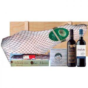 Lote de navidad con embutidos y vinos Rioja