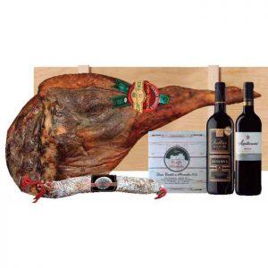 Lote de navidad con embutidos ibéricos y vinos Rioja en caja de madera 2a
