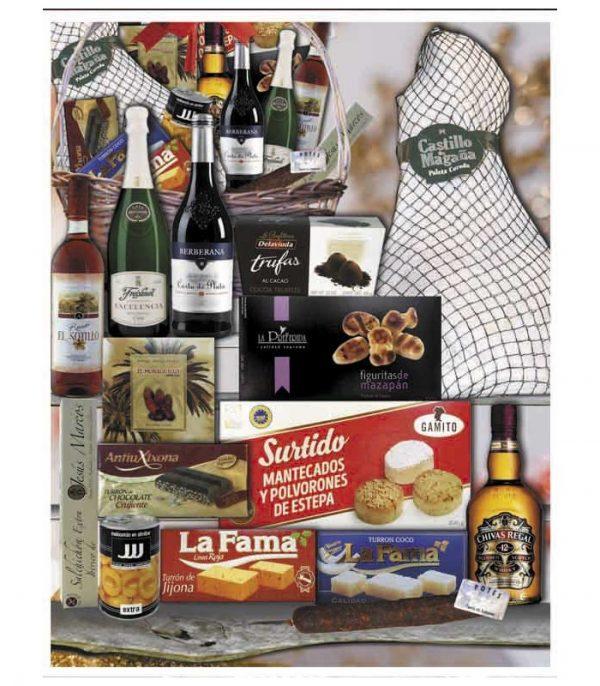 Cesta de navidad con Whisky Chivas Regal 12 años y Paleta de Jamón Serrano 23b
